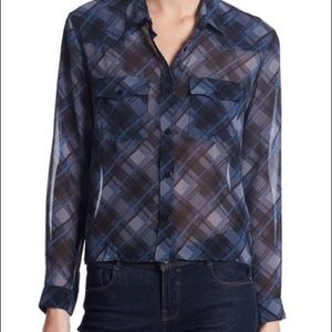 NWOT: THE KOOPLES Cropped Plaid Blouse Size 0